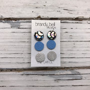 CAROL (3/PACK) - Leather Stud Earrings   || METALLIC ANTIQUE MERMAID, MATTE CAROLINA BLUE, SHIMMER ROSE GOLD
