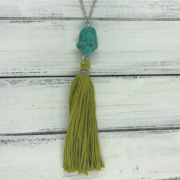 TASSEL NECKLACE - CAROLINA   OOAK (One of a Kind)   ||   GREEN TASSEL WITH TURQUOISE DECORATIVE  BEAD