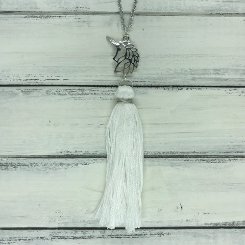 TASSEL NECKLACE - CAROLINA    ||  WHITE TASSEL WITH UNICORN
