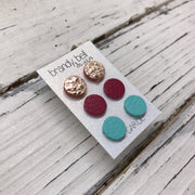 CAROL (3/PACK) - Leather Stud Earrings   ||  METALLIC ROSE GOLD, MATTE RASPBERRY, MATTE ROBINS EGG BLUE