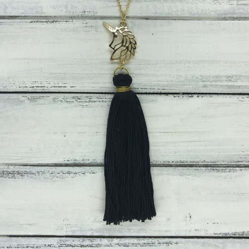 TASSEL NECKLACE - CAROLINA    ||  BLACK TASSEL WITH UNICORN