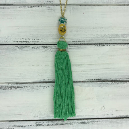 TASSEL NECKLACE - CAROLINA   OOAK (One of a Kind)   ||   BRIGHT GREEN TASSEL WITH PINEAPPLE  BEAD