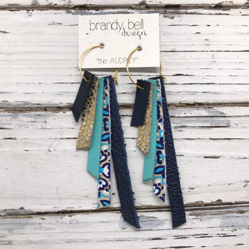 AUDREY - Leather Earrings  || METALLIC NAVY, METALLIC GOLD DRIPS, MATTE ROBINS EGG BLUE, MOROCCAN TILE, METALLIC NAVY TEXTURE