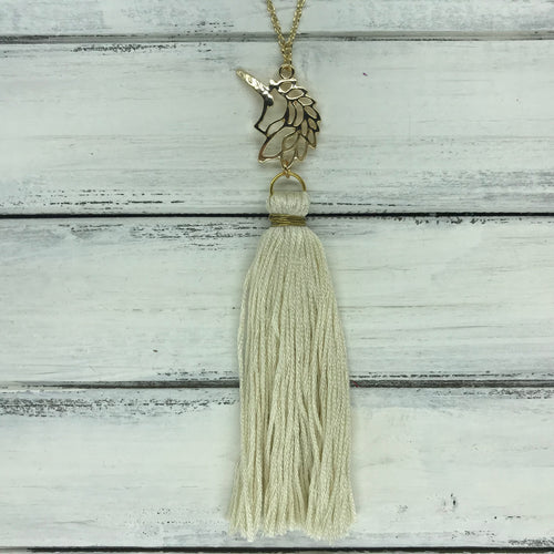 TASSEL NECKLACE - CAROLINA    ||  IVORY TASSEL WITH UNICORN