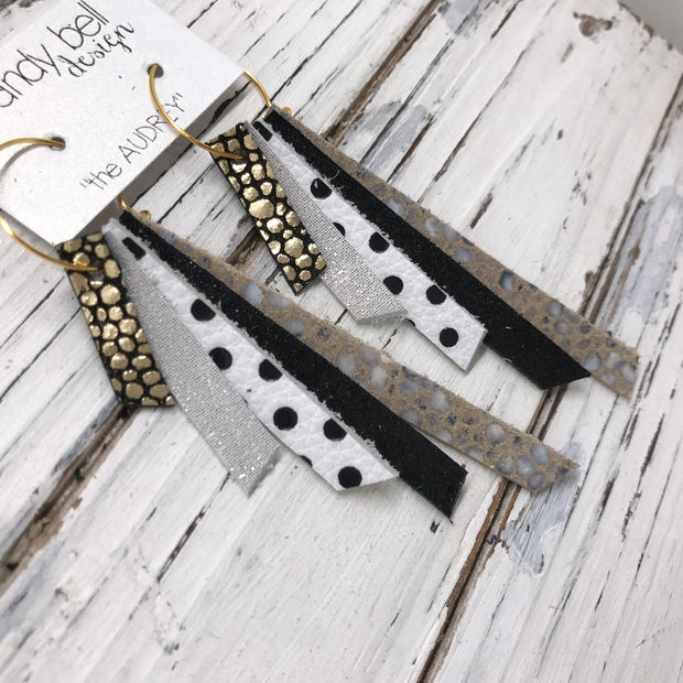 AUDREY - Leather Earrings  || METALLIC GOLD DRIPS ON BLACK, SHIMMER ROSE GOLD, WHITE WITH BLACK POLKA DOTS, SHIMMER BLACK, IVORY STINGRAY