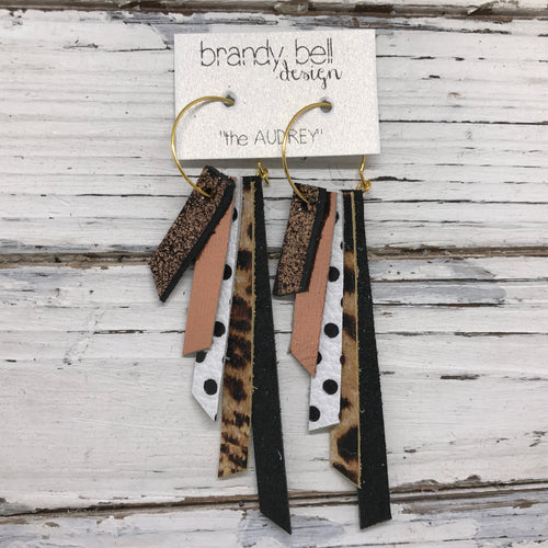 AUDREY - Leather Earrings  || METALLIC SHIMMER COPPR, METALLIC COPPER, WHITE WITH BLACK POLKADOTS, CHEETAH PRINT, SHIMMER BLACK