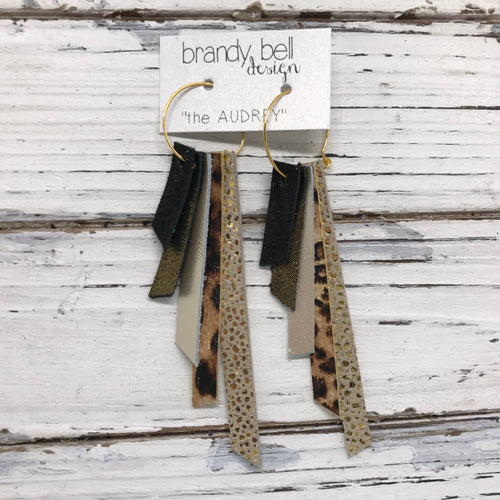AUDREY - Leather Earrings  || SHIMMER BLACK, SHIMMER ANTIQUE GOLD, METALLIC CHAMPAGNE, CHEETAH PRINT, METALLIC GOLD DRIPS