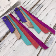 AUDREY - Leather Earrings  || METALLIC PURPLE, METALLIC ROSE GOLD, MATTE ROBINS EGG BLUE, MATTE SALMON, METALLIC NEON PINK
