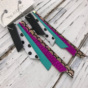 AUDREY - Leather Earrings  || MATTE BLACK, WHITE WITH BLACK POLKADOTS, MATTE ROBINS EGG BLUE, METALLIC NEON PINK, METALLIC MERMAID PINK/GREEN/GOLD