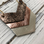 EMERSON - Leather Necklace  ||  SHIMMER COPPER ON BLACK, METALLIC COPPER, METALLIC CHAMPAGNE
