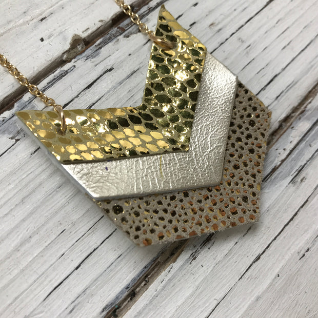 EMERSON - Leather Necklace  ||  METALLIC GOLD SCALES, METALLIC CHAMPAGNE, METALLIC GOLD DRIPS