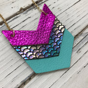 EMERSON - Leather Necklace  ||  METALLIC NEON PINK, METALLIC ANTIQUE MERMAID, MATTE ROBINS EGG BLUE