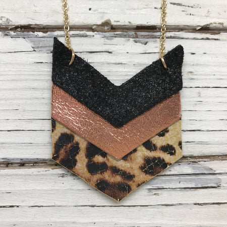 EMERSON - Leather Necklace  ||  SHIMMER BLACK, METALLIC COPPER, CHEETAH PRINT