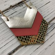 EMERSON - Leather Necklace  ||  METALLIC CHAMPAGNE, MATTE SALMON, METALLIC GOLD SCALES