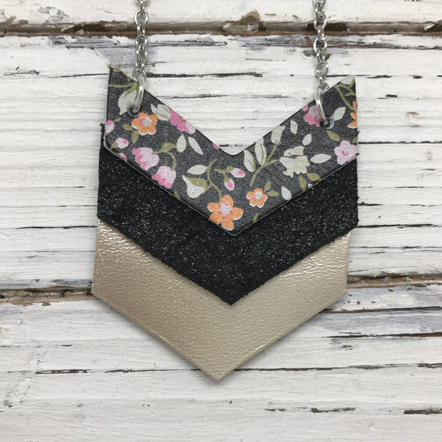EMERSON - Leather Necklace  ||  BLACK MINI FLORAL, SHIMMER BLACK, METALLIC CHAMPAGNE