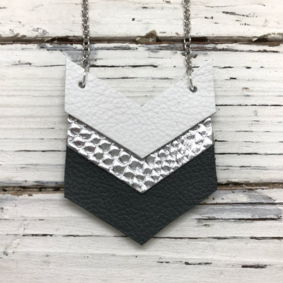 EMERSON - Leather Necklace  ||  MATTE WHITE, METALLIC SILVER COBRA, MATTE DARK GRAY