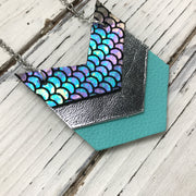 EMERSON - Leather Necklace  ||  METALLIC ANTIQUE MERMAID, METALLIC SILVER, MATTE ROBINS EGG BLUE