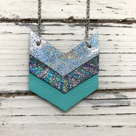 EMERSON - Leather Necklace  ||  METALLIC SILVER IRIDESCENT, METALLIC IRIDESCENT SWIRL, MATTE ROBINS EGG BLUE