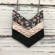 EMERSON - Leather Necklace  ||  BLACK MINI FLORAL, METALLIC ROSE GOLD TEXTURE, SHIMMER BLACK