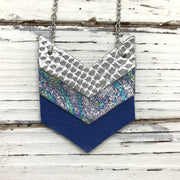 EMERSON - Leather Necklace  ||  METALLIC SILVER COBRA, METALLIC IRIDESCENT SWIRL, MATTE COBALT BLUE
