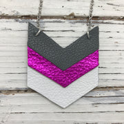 EMERSON - Leather Necklace  ||  MATTE DARK GRAY, METALLIC NEON PINK, MATTE WHITE