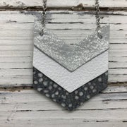 EMERSON - Leather Necklace  ||  SHIMMER SILVER, MATTE WHITE, SILVER STINGRAY