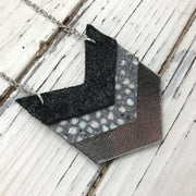 EMERSON - Leather Necklace  ||  SHIMMER BLACK, SILVER STINGRAY, METALLIC SILVER