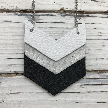 EMERSON - Leather Necklace  ||  MATTE WHITE, SHIMMER SILVER, MATTE BLACK