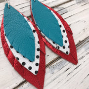 INDIA - Leather Earrings  ||  matte teal, white with black polka dots, metallic red