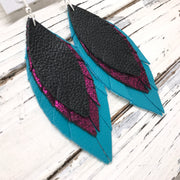 INDIA - Leather Earrings  ||  MATTE BLACK, SHIMMER MAGENTA, MATTE TEAL