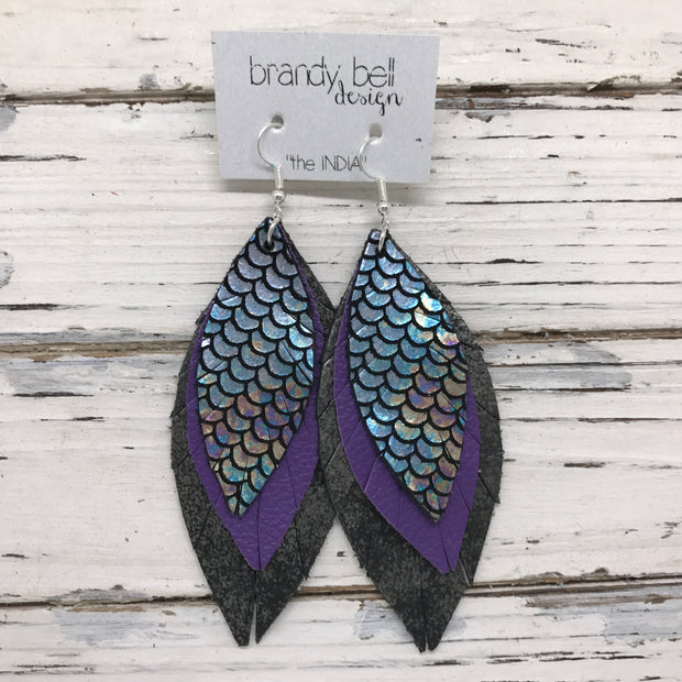 INDIA - Leather Earrings  ||  METALLIC ANTIQUE MERMAID, MATTE PURPLE, DISTRESSED BLACK & SILVER