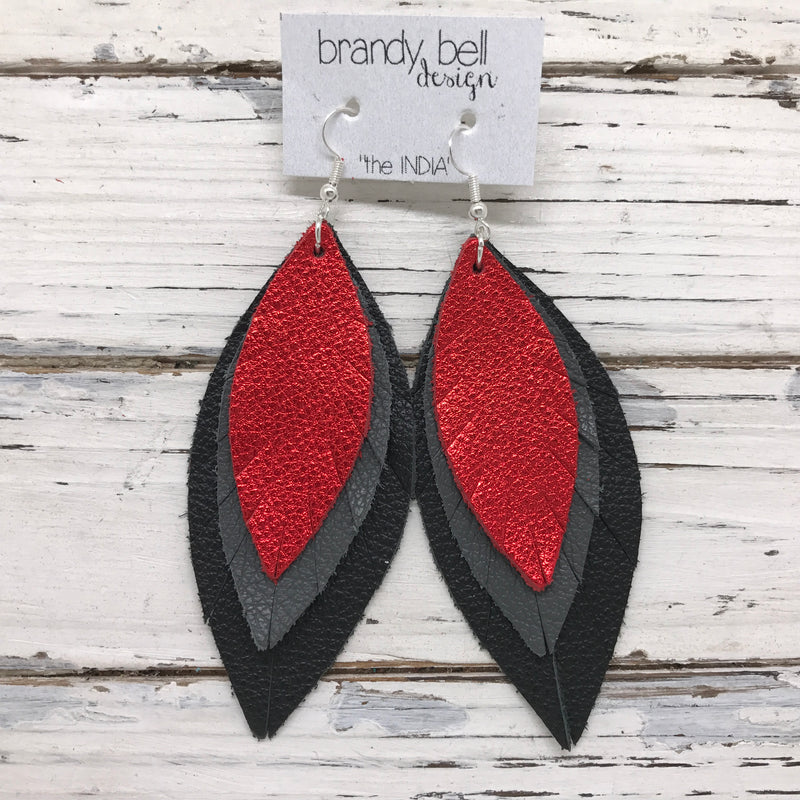 INDIA - Leather Earrings  ||  METALLIC RED, MATTE DARK GRAY, MATTE BLACK