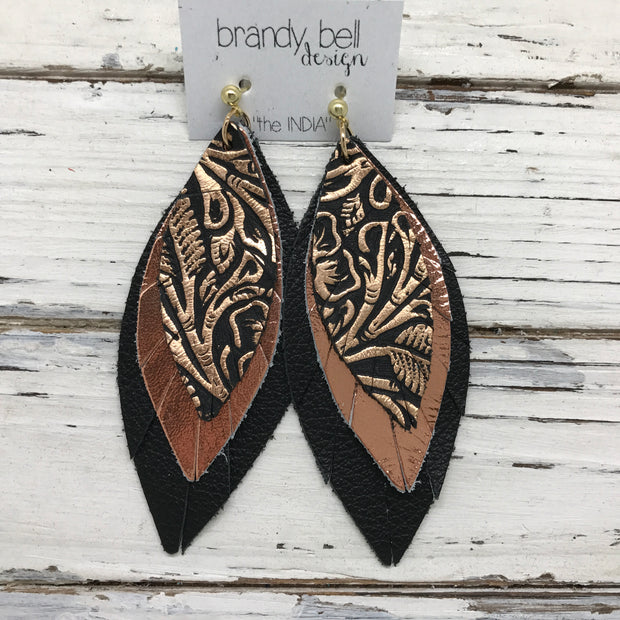 INDIA - Leather Earrings  ||  METALLIC COPPER FLORAL, METALLIC COPPER MATTE BLACK