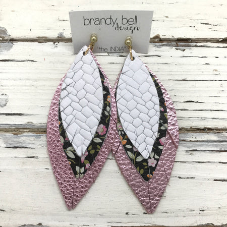 INDIA - Leather Earrings  ||  WHITE BASKETWEAVE, BLACK MINI FLORAL, METALLIC LIGHT PINK