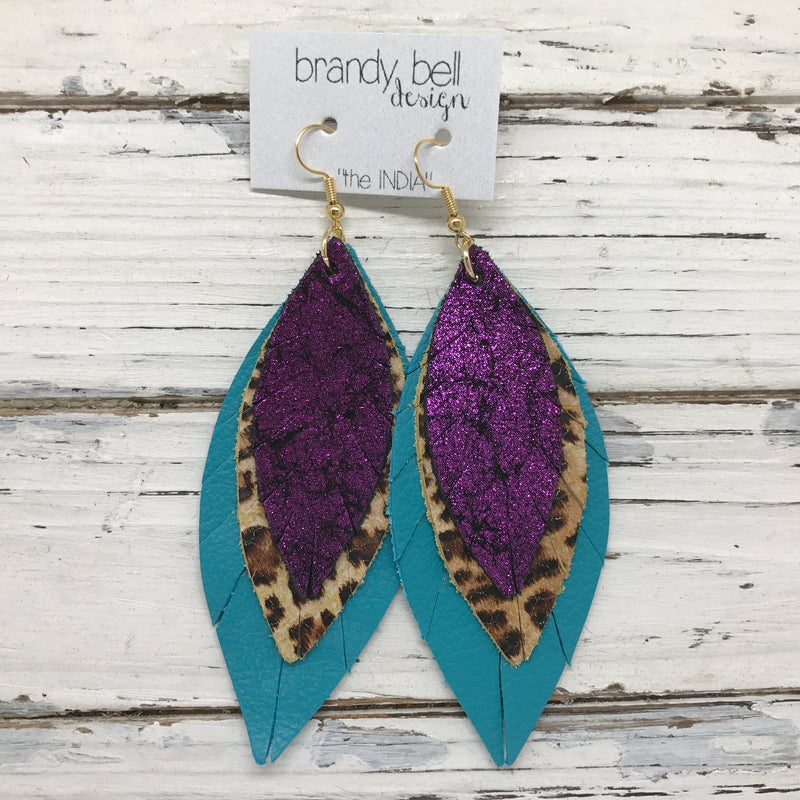 INDIA - Leather Earrings  ||   SHIMMER FUCHSIA, CHEETAH, MATTE TEAL