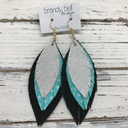 INDIA - Leather Earrings  ||  SHIMMER SILVER, AQUA WITH WHITE POLKADOT, SHIMMER BLACK
