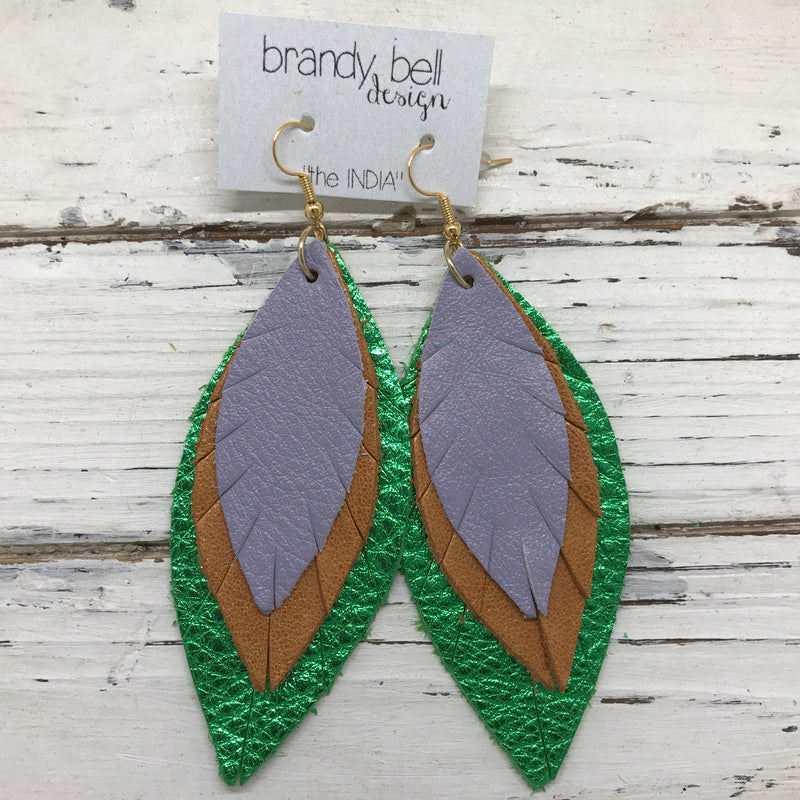 INDIA - Leather Earrings  ||  LAVENDER, PEARLIZED TOPAZ, METALLIC BRIGHT GREEN