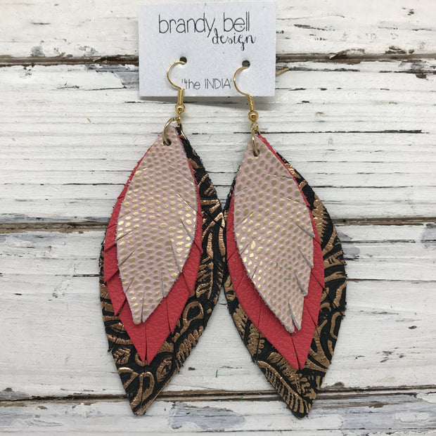INDIA - Leather Earrings  ||  LIGHT PINK WITH METALLIC GOLD ACCENTS, CORAL, METALLIC COPPER FLORAL