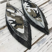 INDIA - Leather Earrings  ||  CAMO, METALLIC SILVER, DISTRESSED BLACK & SILVER