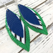 INDIA - Leather Earrings  ||  MATTE COBALT BLUE, BLACK & WHITE STRIPE, METALLIC BRIGHT GREEN