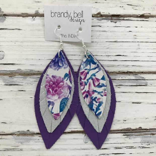INDIA - Leather Earrings  ||  FLORAL, SHIMMER SILVER, MATTE PURPLE