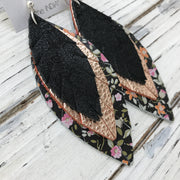 INDIA - Leather Earrings  ||  SHIMMER BLACK, METALLIC ROSE GOLD, BLACK MINI FLORAL