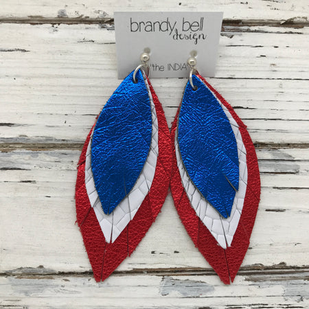 INDIA - Leather Earrings  ||   METALLIC COBALT BLUE, WHITE BASKETWEAVE, METALLIC RED