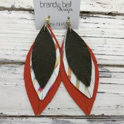 INDIA - Leather Earrings  ||  MATTE OLIVE GREEN, WATERCOLOR STRIPES, MATTE ORANGE