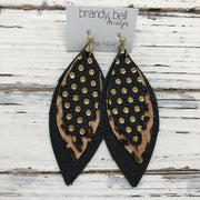 INDIA - Leather Earrings  ||  BLACK WITH METALLIC GOLD POLKADOTS, CHEETAH, MATTE BLACK