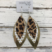 INDIA - Leather Earrings  ||  CHEETAH, WHITE WITH METALLIC GOLD POLKA DOTS, METALLIC GOLD