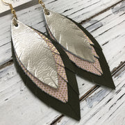 INDIA - Leather Earrings  ||  METALLIC CHAMPAGNE, PINK WITH GOLD ACCENTS, MATTE OLIVE GREEN