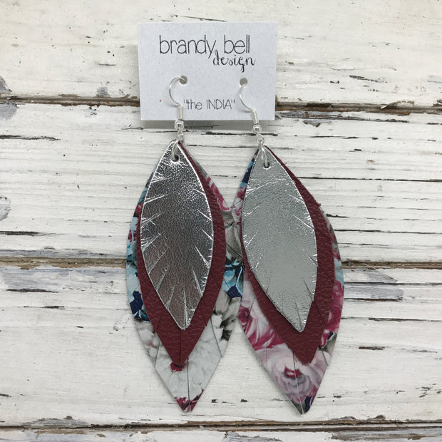 INDIA - Leather Earrings  ||  METALLIC SILVER, MATTE BURGUNDY, VINTAGE FLORAL