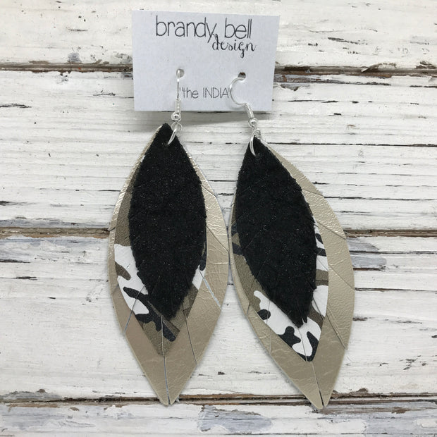 INDIA - Leather Earrings  ||  SHIMMER BLACK, CAMO, METALLIC CHAMPAGNE