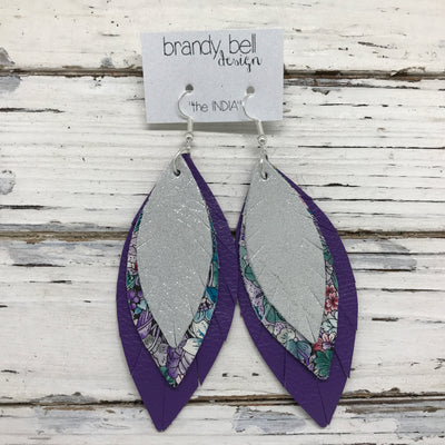 INDIA - Leather Earrings  ||  SHIMMER SILVER, PURPLE/TEAL FLORAL, MATTE PURPLE